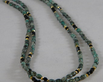 OOAK African Turquoise and Czech Glass Long Necklace