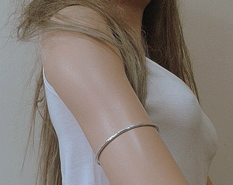 Hammered Sterling Arm Cuff - Upper Arm Band Handmade Sterling Silver 925 Chic Minimal Band