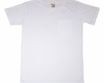 White Modal Pocket Crew Neck T-Shirt
