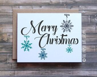 Merry Christmas Card, Happy Holidays Card, Xmas Card, Joyeux Noel Card, Snowflakes Card, Card for husband, Card for Wife