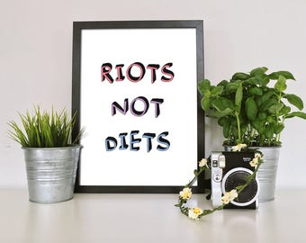 BODY POSITIVE PRINT, A5 Art Print - Riots Not Diets - Feminist Art Print - Bopo - Self Love - Gifts for Her - Girl Gang - Nasty Woman Art