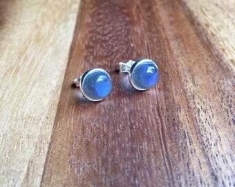 Sterling Silver Labradorite Earrings Blue Flash Labradorite Studs Labradorite Jewellery Gift For Her Womens Earrings Womens Jewellery STSE16