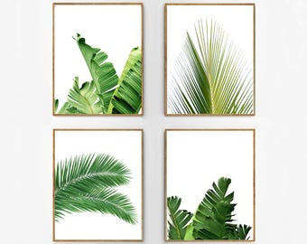 Set Of 4 Tropical Leaves, Leaf Prints Set, Green Wall Art, Minimalist  Posters