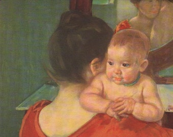 Mary Cassatt 1900 Mother and Child as 1930s Lithograph from Oil Painting. USA Printer Over Shoulder View Strong Red Orange US Impressionism