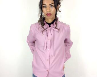 Ruffle MANDARIN Collar Pink Blouse . Women's Vintage High BOW Collared Pastel Dusty Pink Shirt . 70s Vtg Size UK 10 12 14 Small Medium