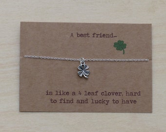 Goodbye gift for best friend.  Birthday present.  Sterling silver chain. Gift for her. Fun gift. Lucky clover. Farewell, Good luck present