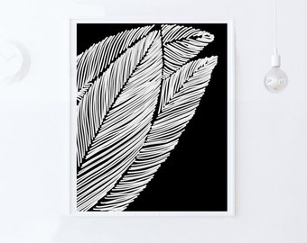 Instant Print, Leaf Art, Modern Wall Art PRINTABLE Artwork, Leaf Wall Print, Leaf Wall Art, Black Home Decor Wall Art INSTANT DOWNLOAD art