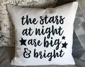 Stars at Night Texas Screen Printed Pillow