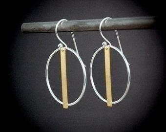 Sterling Silver Hoop Earrings, Gold Hoop Earrings, Mixed Metal Hoop Earrings, Gold and Silver Hoops, Two Tone Earrings, Mixed Metal Earrings