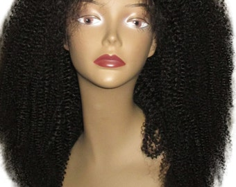 "Essence Wigs Lacefront ""Lush Kinks"" 100% Ethiopian Virgin Remy Wig Human Hair NATURAL Kinky Curly Wig"