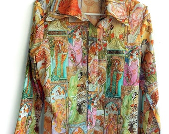 Rare 1970's Collectible Alphonse Mucha Art Nouveau Disco Polyester Photo Print Women's Shirt