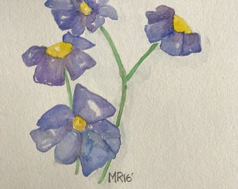 Blue Spring Flower Watercolor Painting