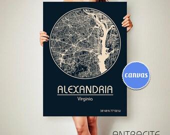 ALEXANDRIA Virginia CANVAS Map Alexandria Virginia Poster City Map Alexandria Virginia Art Print Alexandria Virginia poster VA ArchTravel