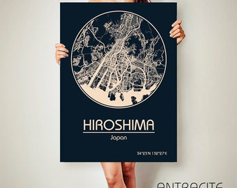 HIROSHIMA Japan CANVAS Map Hiroshima Japan Poster City Map Hiroshima Japan Art Print Hiroshima Japan