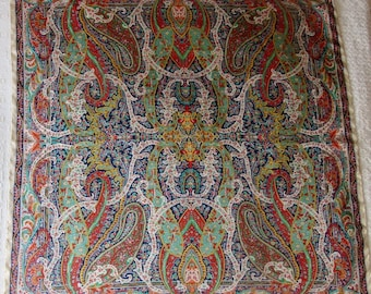 LARGE Vintage LIBERTY of LONDON colourful paisley design silk twill scarf good condition