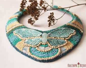 Kolisnyk Bijou |butterfly blue elegant beaded embroidery necklace statement | gift for woman | bib necklace | free shipping hand made ...