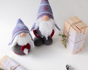 Norwegian gnomes, needle felted Tomte Nisse, woolen elf doll, felted gnomes, scandi decor toy, Christmas gift, hygge decor, swedish santa