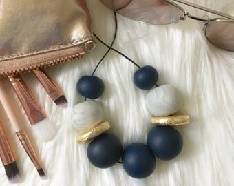 Navy and marble polymerclay bead necklace, chunky statement bead necklace, modern clay necklace, navy polymer clay beads, gift for her