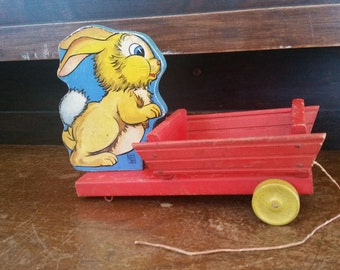 Wood bunny with cart, Fisher Price 401 bunny cart, bunny toy vintage, wood rabbit vintage