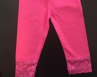 Girls Leggings/ Kids Tights /Girls Lace Cuff Leggings / Lace Cuff Tights/ Kids Lace Cuff Leggings / Cotton Leggings Lace Cuff