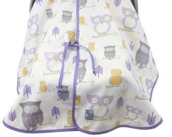Owl Car Seat Tent Lavender Gray Yellow