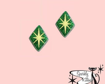 The Diamonds Are A Girl's Best Friend earrings in green with gold starburst