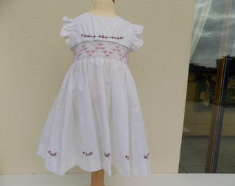 christening gown, white dress and bloomer, cotton, little girl, flower dress, pink flowered dress, dress hand smocking, embroidered hand, kid party dress
