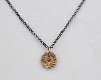 14 k tourmaline disc necklace