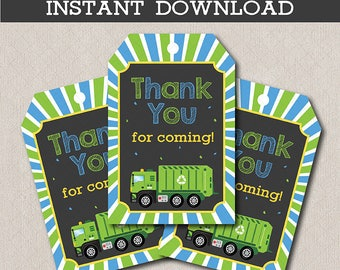 Garbage Truck Gift Tags, Garbage Truck Birthday, Garbage Truck Tags, Garbage Truck party, printable, INSTANT DOWNLOAD