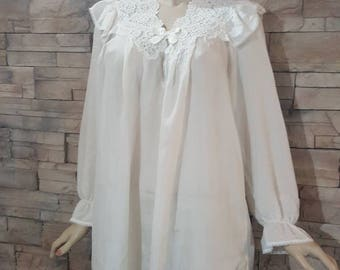 Sold  ! Silk robe,long Edwardian blouse,silk night gown,Victorian under corset tunic ,delicate lace cream color camisole(1)