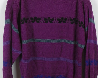 Vintage Sweater, Vintage Knit Pullover, purple, Pattern, 80s, 90s, oversized look