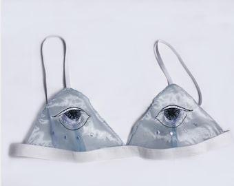 Bra embroidered eye/eyes - transparent blue - Embroidered eyes bralette - Blue sheer bra triangle Bra