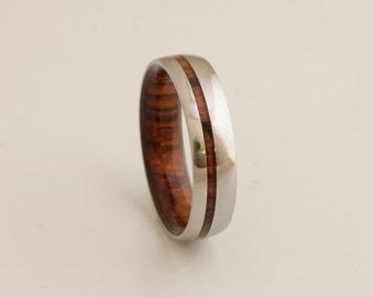 wood wedding band mens wedding ring woman band cocobolo ring man jewelry titanium ring wood ring