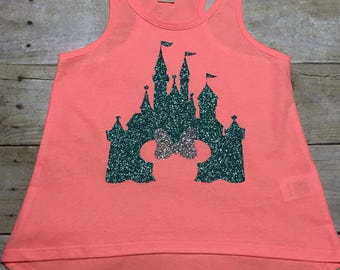 Disney Castle Shirt/Girls Disney Tank Top/Girls Castle Tank/Girls Personalized Disney Tank Tops/Hi Low Tank Top/Monogrammed Tank