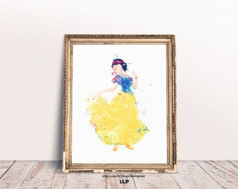 Disney Princesses Snow White Watercolor, Snow White print, Nursery Decor, Baby Girls Print, Disney princess art, Watercolor baby girl's room