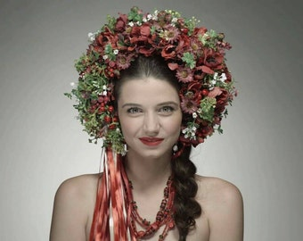 Red flower wreath, Flower Headdress, Flower Headpiece, Head wreath, Bridal Hair Accessories, Wedding Headband
