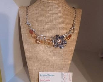 Amber flower necklace, silver wire