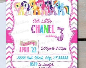 My Little Pony Birthday Invitation, 5x7, Printed or Digital File *** FREE SHIPPING