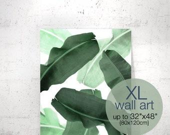 Tropical Print, Palm Leaf Print, Banana Leaf Print, Green Leaves, Plant Print, Palm Print, Greenery Print, Botanical, Extra Large Wall Art