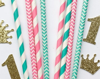 Teal and Pink Paper Straws • First Birthday Decor • Bridal Shower Decor • Baby Shower Decor • Bachelorette Party • Birthday Decor