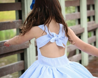 baby girl toddler dress girls dresses blue white striped seersucker white eyelet full skirt pageant sassy open back big bow classic girly