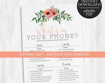What's In Your Phone Game | Editable Phone Search Game |  Bachelorette Games | Hens Party Games | Hens Night Games | Floral | Bridal Shower