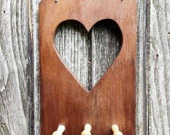 Shabby Chic Heart Solid Oak Reclaimed Wood Key Rack Holder Shaker Hooks