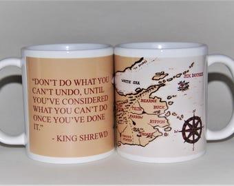Six Duchies mug map, inspired by Robin Hobb, designed by TattooMugLady, valentines mug, Fitz, Fool, Prince Verity, Assassin's Apprentice
