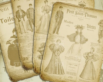Victorian Advertising - French Ads - Digital Collage Sheet Download | 4 different designs
