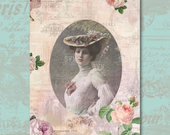 """Victorian Lady - Art Print 8""""x10"""" - Digital Collage Sheet - Instant Download"""