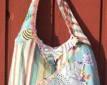 Hobo, crossbody, owl, pastel purse. One of a Kind. FREE SHIPPING