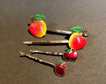 Vintage Enamel Apple Bobby Pins / Hair slides
