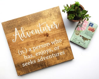 Adventure Definition Sign | Modern Rustic Farmhouse Decor | Wooden Inspirational Signs | Graduation Gift 2017 | Housewarming Gift