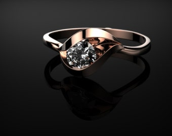 Rose Gold White Sapphire Engagement Ring Rose Gold White Sapphire Rose Gold Rose Ring Gold White Sapphire Ring Diamond Alternative Rose Gold